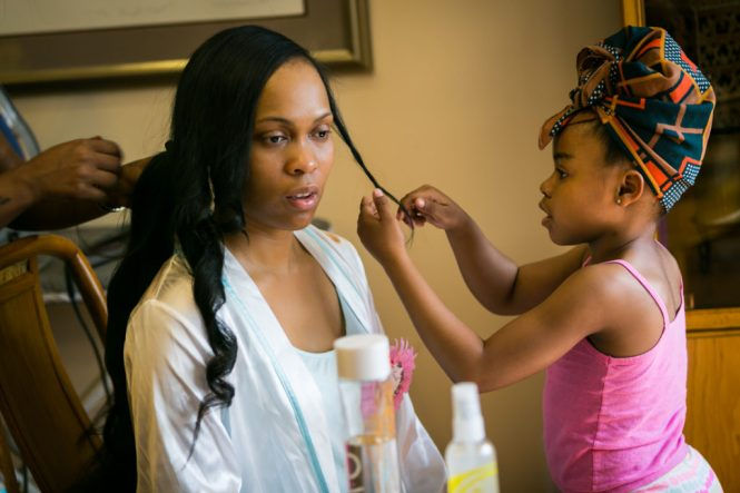 Mother and daughter getting ready for a Glen Terrace wedding