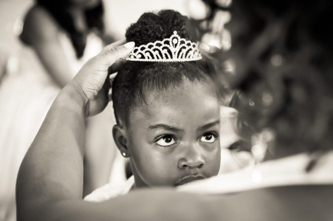 Little girl with tiara for a Glen Terrace wedding