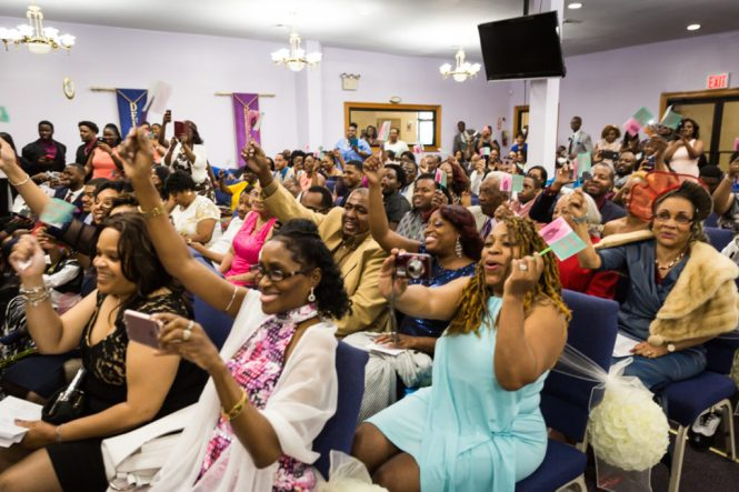 Guests cheering at a Glen Terrace wedding