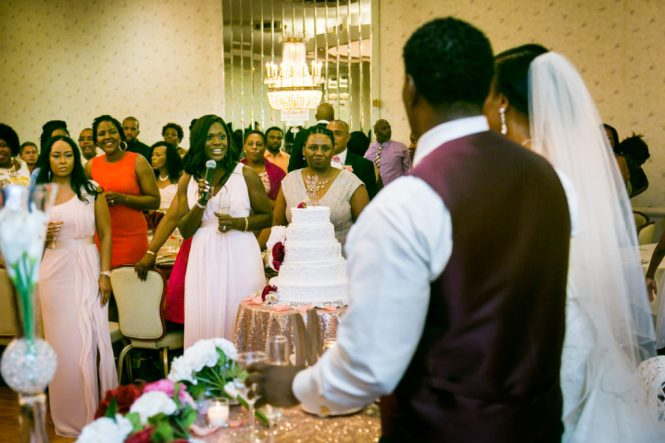 Maid of honor giving a toast at a Glen Terrace wedding