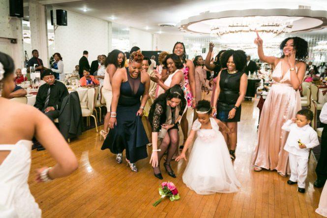Bouquet toss at a Glen Terrace wedding