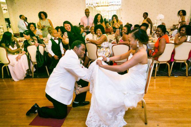 Garter toss at a Glen Terrace wedding