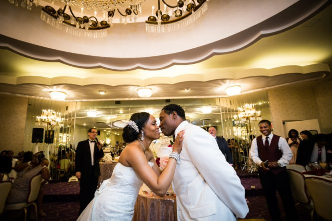 Bride and groom kissing at a Glen Terrace wedding