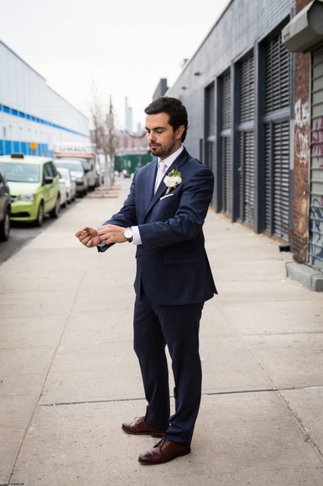 Groom portraits at a Wythe Hotel wedding