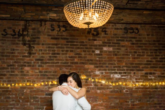 Bride and groom dancing at a Wythe Hotel wedding