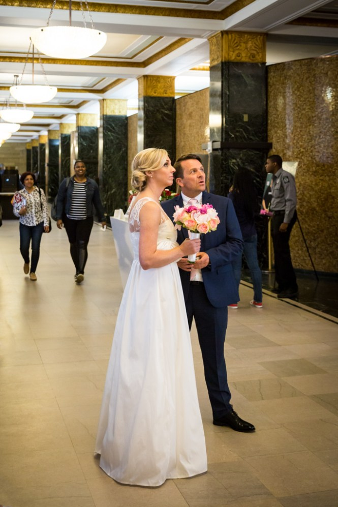 Couple waiting for their NYC City Hall elopement