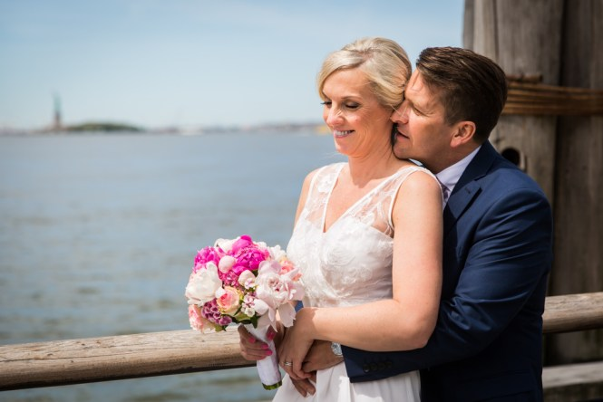 Bride and groom portraits after a NYC City Hall elopement