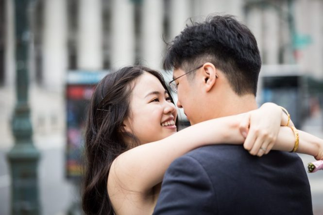 Bride and groom portraits at a NYC City Hall elopement