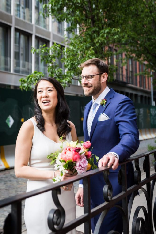 Bride and groom portrait at a SoHo wedding
