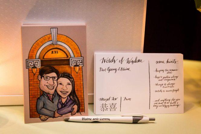 Bride and groom postcards for a SoHo wedding