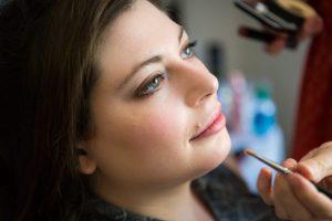 Makeup application before a Brooklyn Historical Society wedding