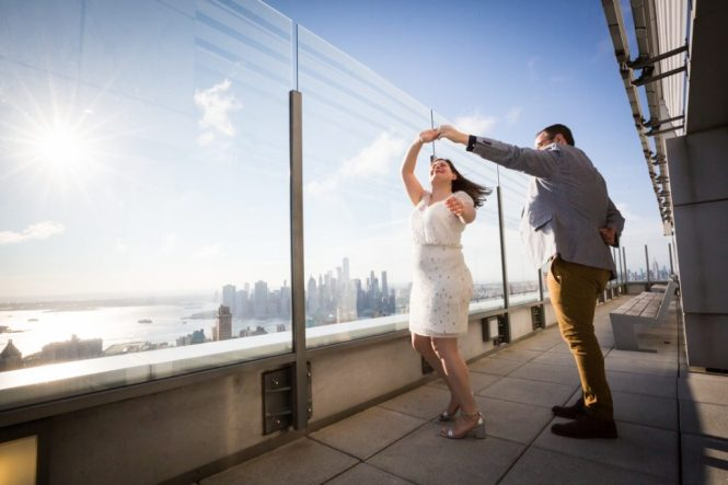 Bride and groom portraits before a Brooklyn rehearsal dinner