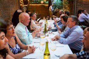 Guests enjoying a Brooklyn rehearsal dinner