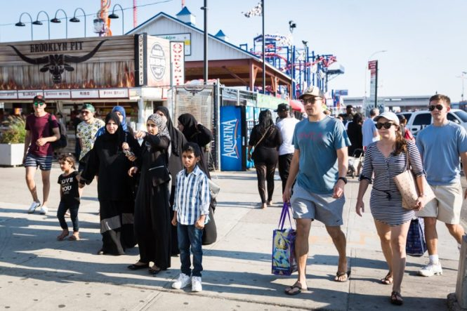 People on the Coney Island boardwalk