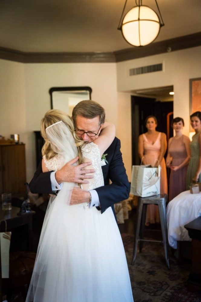 Father seeing bride for the first time at a Gallow Green wedding