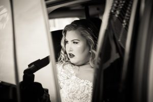 Bride waiting in limo for a 26 Bridge wedding