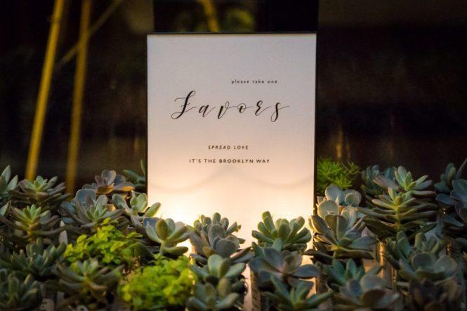 Succulents as guest favors at a 26 Bridge wedding