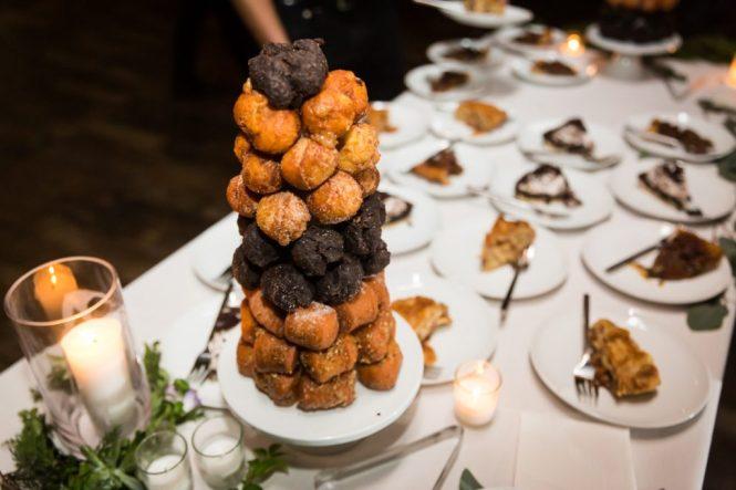 Dessert table at a 26 Bridge wedding