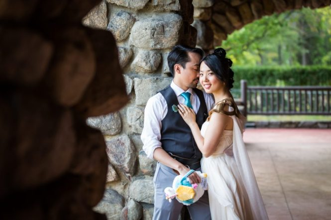Bride and groom portraits at a Bear Mountain Carousel wedding