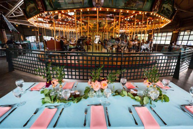 Tablescape at a Bear Mountain Carousel wedding