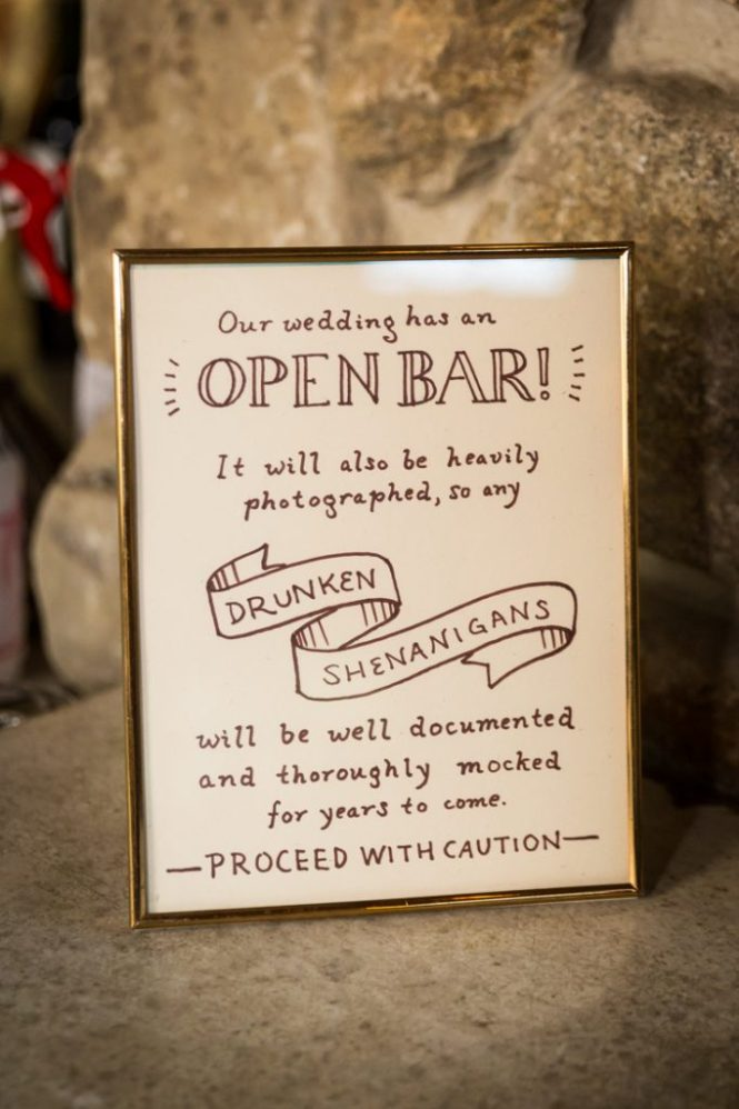 Bar sign at a Bear Mountain Carousel wedding