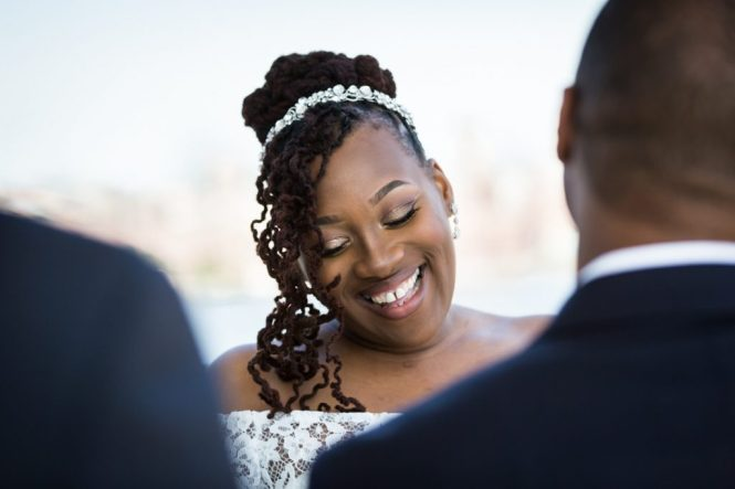 Bride laughing for an article on elopement tips