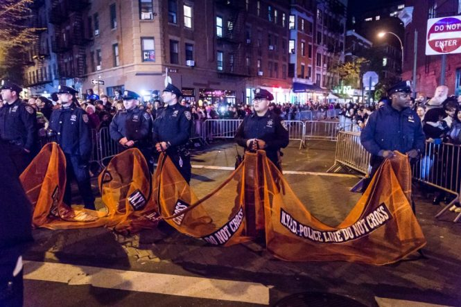 Cops protecting the 44th annual Greenwich Village Halloween Parade