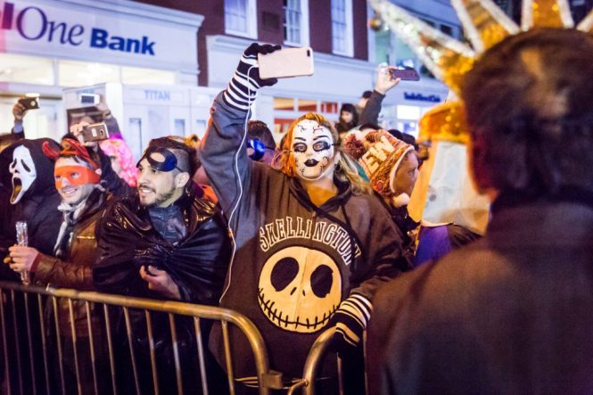 Bystanders at the 44th annual Greenwich Village Halloween Parade