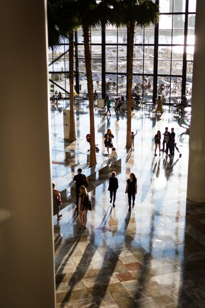 Interior of Brookfield Place for an article on public atriums as an option for NYC rainy day photo shoot locations