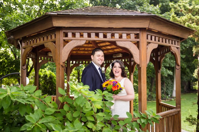 Bride and groom in gazebo for article on a Terrace on the Park wedding