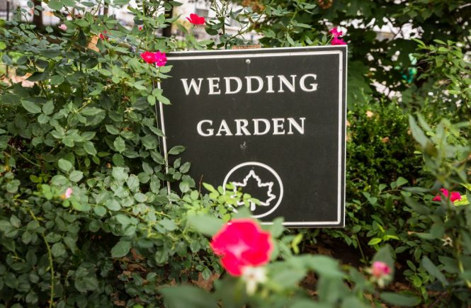 Wedding Garden sign for an article on City Hall wedding portrait locations