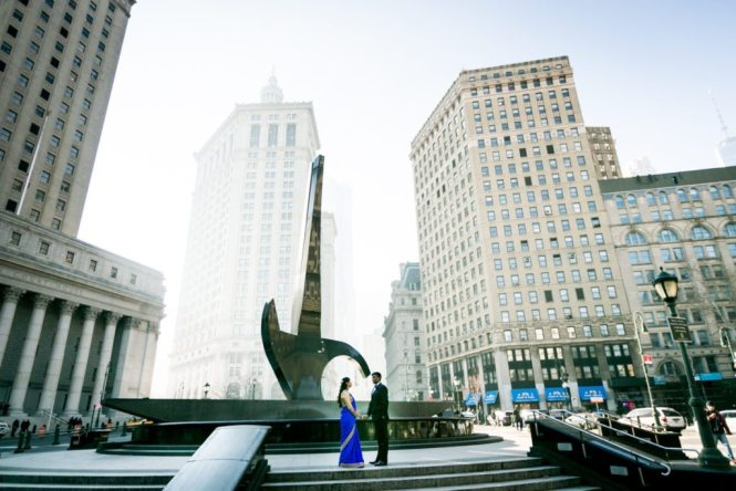 Couple at Foley Square for an article on City Hall wedding portrait locations