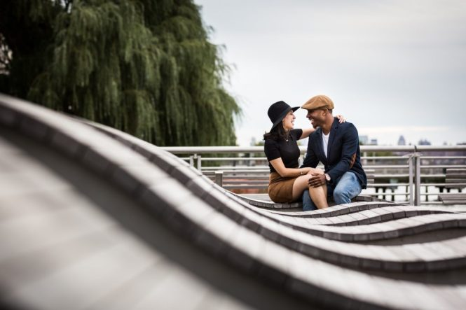 Couple during a Gantry Plaza State Park engagement portrait