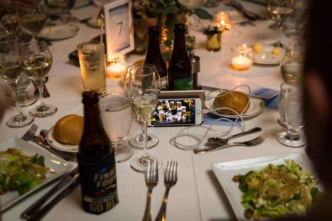 Cellphone playing football at a Larchmont Shore Club wedding