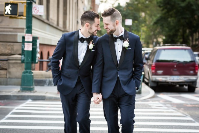Two grooms in crosswalk for an article entitled, 'Do you need a permit to get married in Central Park?'