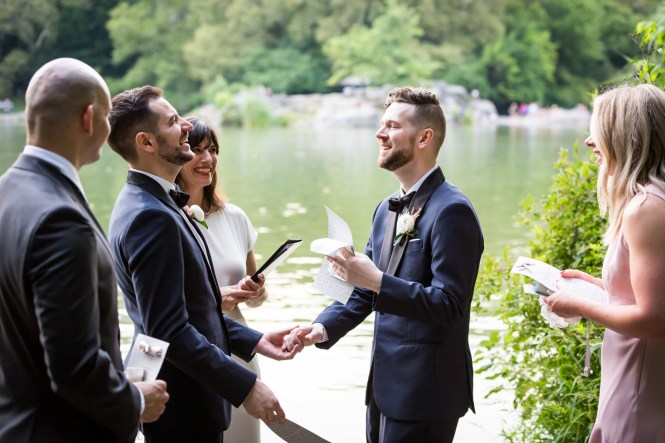 Grooms saying their vows for an article entitled, 'Do you need a permit to get married in Central Park?'