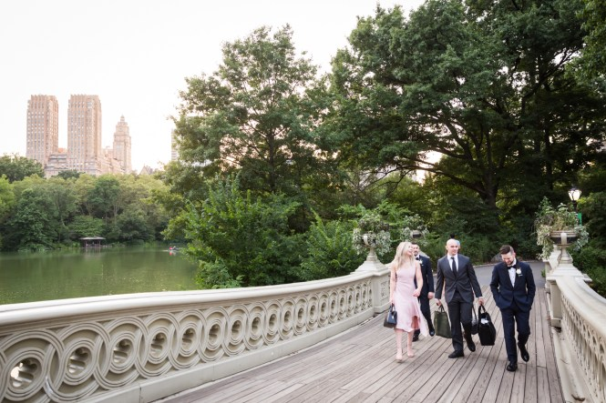 Bridal party walking on Bow Bridge for an article entitled, 'Do you need a permit to get married in Central Park?'