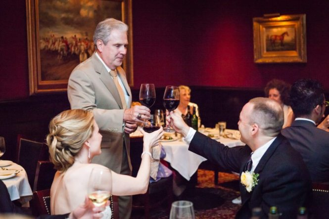 Toast at a Capital Grill wedding reception, by Kelly Williams