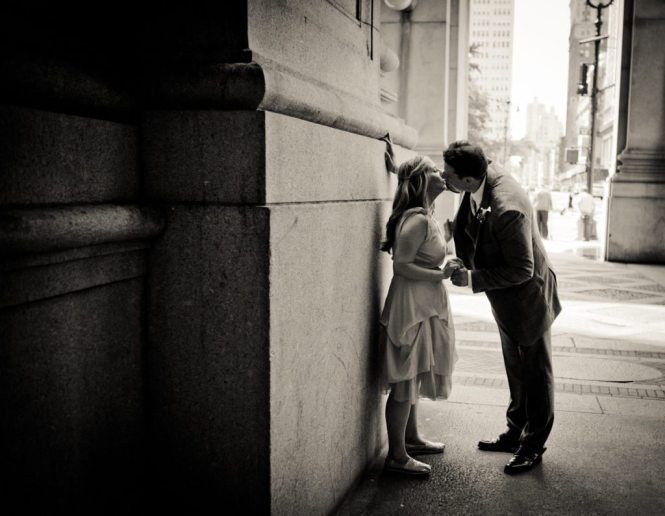 Bride and groom portraits by NYC City Hall wedding photographer, Kelly Williams