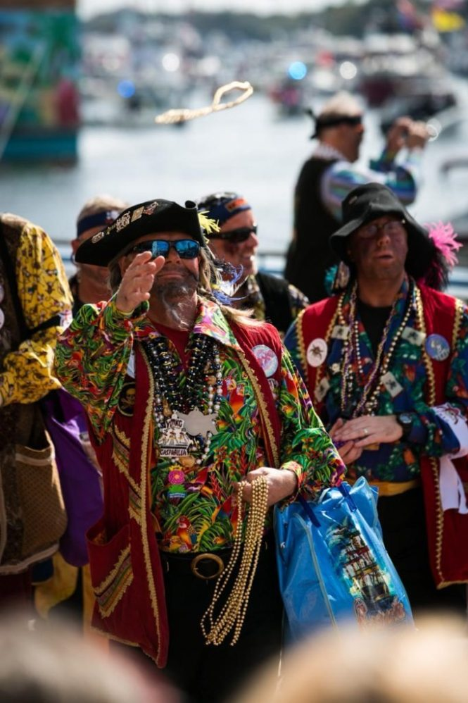Jose Gaspar and his band of pirates arrive in Tampa, by NYC photojouralist, Kelly Williams.