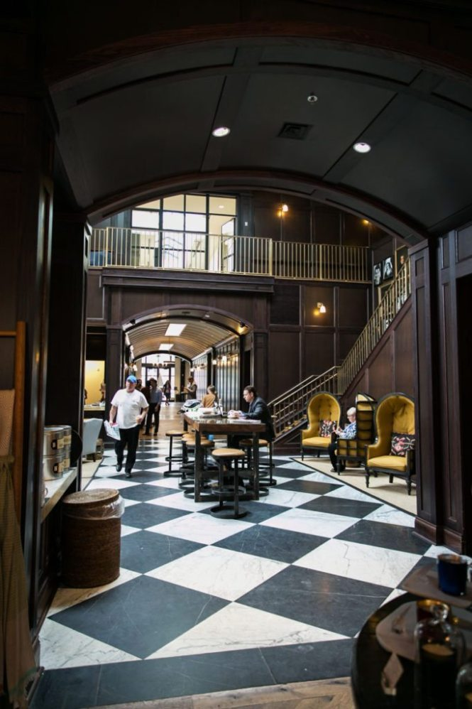 A seating area at the Oxford Exchange in Tampa, Florida