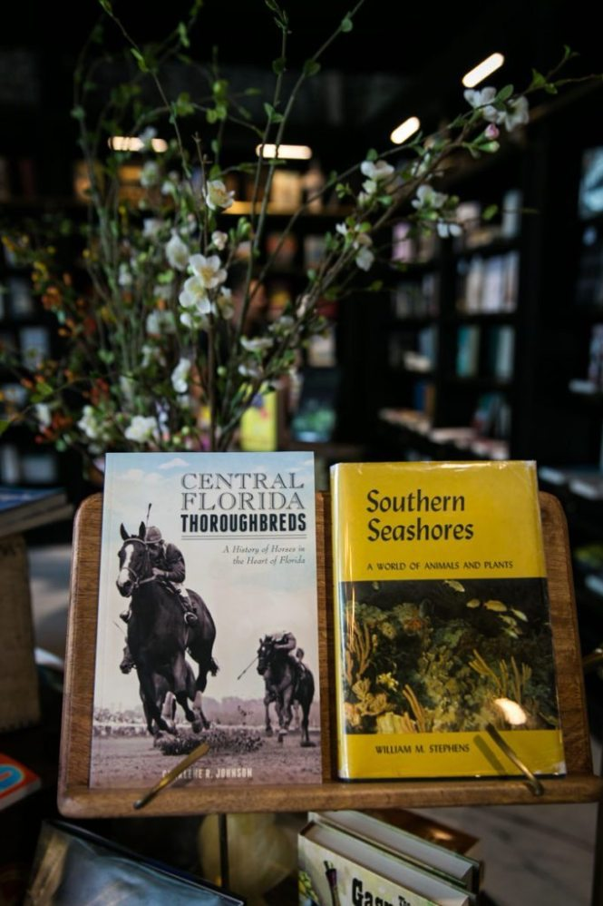 Florida books displayed in the bookstore at the Oxford Exchange in Tampa, Florida