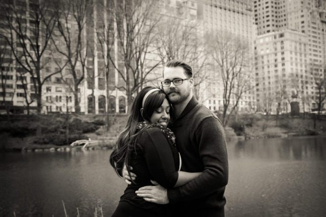 Photos of the happy couple after the Central Park carriage ride proposal, by NYC wedding photojournalist, Kelly Williams