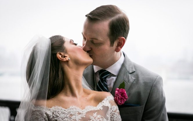 Portrait of the bride and groom, by Hoboken wedding photojournalist, Kelly Williams