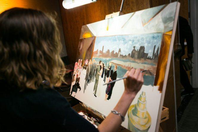 Wedding painter by Hoboken wedding photojournalist, Kelly Williams