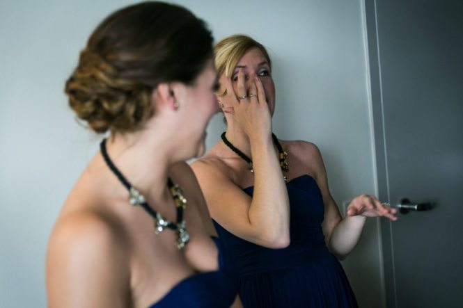 Getting ready candid by Hoboken wedding photographer, Kelly Williams