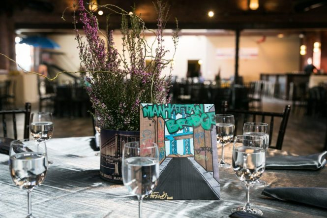 Graffiti centerpiece at a Brooklyn bar mitzvah at 26 Bridge, by Brooklyn bar mitzvah photographer, Kelly Williams