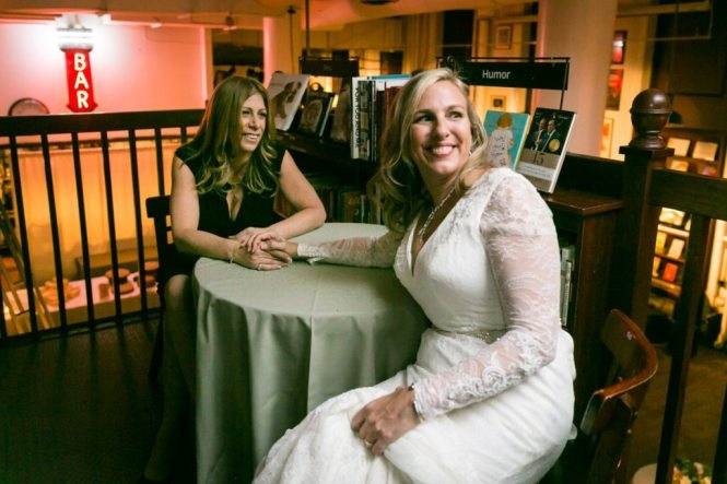 Moments before a Housing Works Bookstore wedding, by NYC wedding photojournalist, Kelly Williams