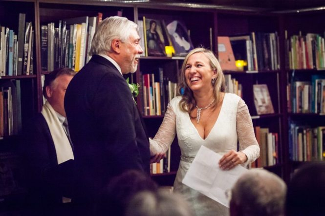 Ceremony photos from a Housing Works Bookstore wedding, by NYC wedding photojournalist, Kelly Williams