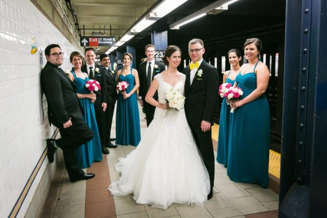 Bridal party in the NYC subway before a Columbus Citizens Foundation wedding by NYC wedding photojournalist, Kelly Williams
